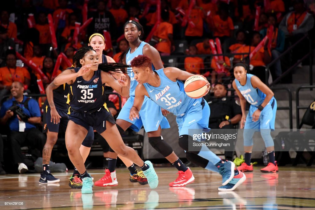 Angel McCoughtry #35 of the Atlanta Dream handles the ball against the Indiana Fever on June 14, 2018 at Hank McCamish Pavilion in Atlanta, Georgia.