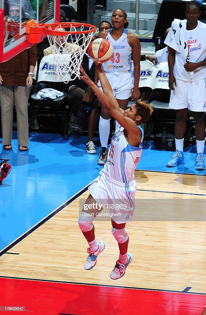 Angel McCoughtry #35 of the Atlanta Dream puts up a shot against the Indiana Fever at Philips Arena on September 4 2013 in Atlanta, Georgia.