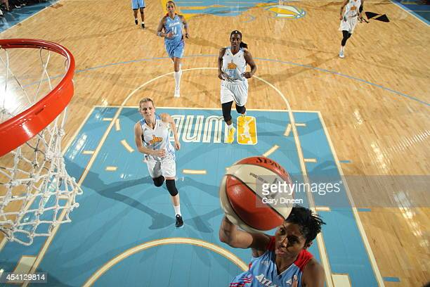 Angel McCoughtry of the Atlanta Dream rebounds the ball against the Chicago Sky in Game Two of the Eastern Conference Semifinals during the 2014 WNBA...