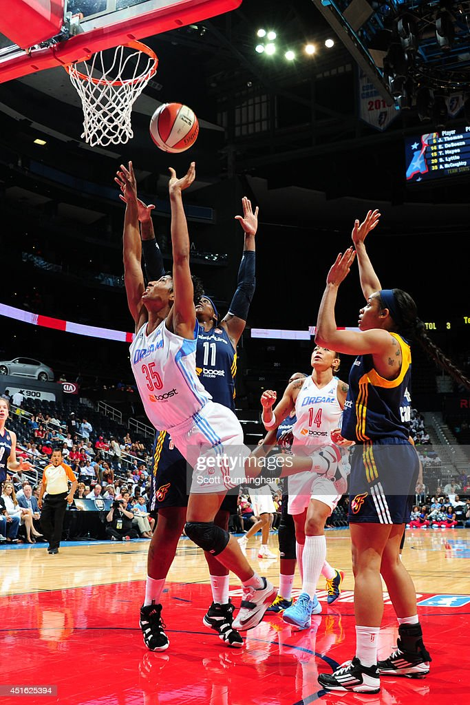 Angel McCoughtry #35 of the Atlanta Dream takes a shot against the Indiana Fever on July 1, 2014 at Philips Arena in Atlanta, Georgia.
