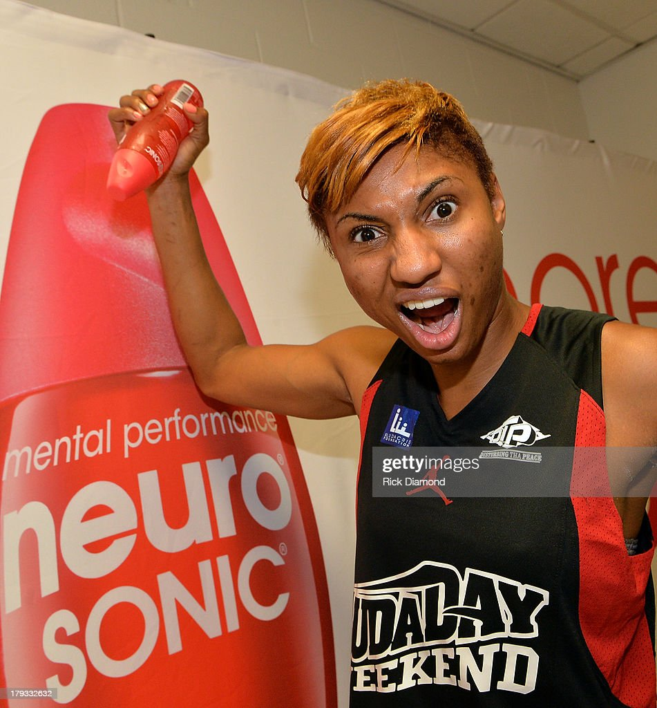 Angel McCoughtry of the WNBA Atlanta Dream during Neuro Drinks At LudaDay Weekend Celebrity Basketball Game at GSU Sports Arena on September 1, 2013 in Atlanta, Georgia.