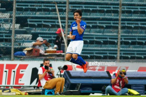 Angel Mena of Cruz Azul celebrates after scoring the first goal of his team during the 11th round match between Cruz Azul and Pachuca as part of the...