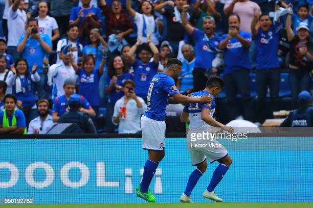 Angel Mena of Cruz Azul celebrates after scoring the second goal of his team during the 16th round match between Cruz Azul and Morelia as part of the...
