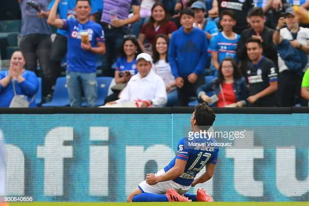 Angel Mena of Cruz Azul celebrates after scoring the third goal of his team during the 11th round match between Cruz Azul and Pachuca as part of the...