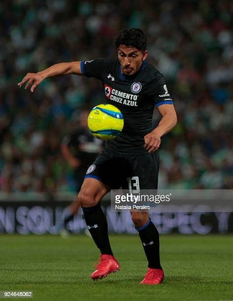 Angel Mena of Cruz Azul controls the ball during the 9th round match between Santos Laguna and Cruz Azul as part of Torneo Clausura 2018 Liga MX at...