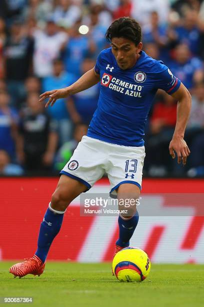 Angel Mena of Cruz Azul drives the ball during the 11th round match between Cruz Azul and Pachuca as part of the Torneo Clausura 2018 Liga MX at Azul...