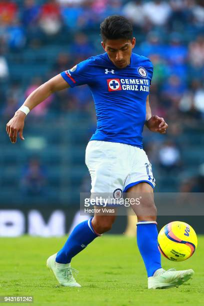 Angel Mena of Cruz Azul drives the ball during the 14th round match between Cruz Azul and Lobos BUAP at Azul Stadium on April 7 2018 in Mexico City...