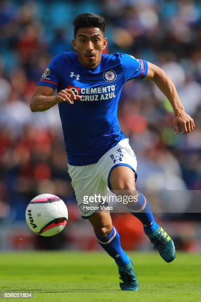 Angel Mena of Cruz Azul drives the ball during the fifth round match between Cruz Azul and Atlas as part of the Torneo Apertura 2017 Liga MX at Azul...
