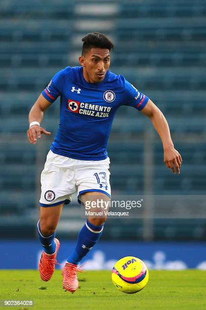 Angel Mena of Cruz Azul drives the ball during the first round match between Cruz Azul and Tijuana as part of the Torneo Clausura 2018 Liga MX at...