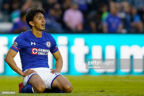 Angel Mena of Cruz Azul reacts during the 10th round match between Cruz Azul and Queretaro as part of the Torneo Clausura 2018 Liga MX at Azul...