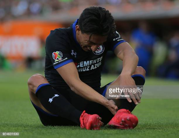 Angel Mena of Cruz Azul reacts during the 9th round match between Santos Laguna and Cruz Azul as part of Torneo Clausura 2018 Liga MX at Corona...