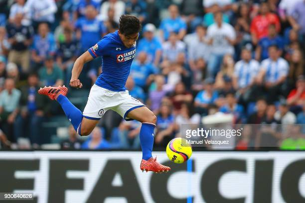 Angel Mena of Cruz Azul shoots the ball during the 11th round match between Cruz Azul and Pachuca as part of the Torneo Clausura 2018 Liga MX at Azul...