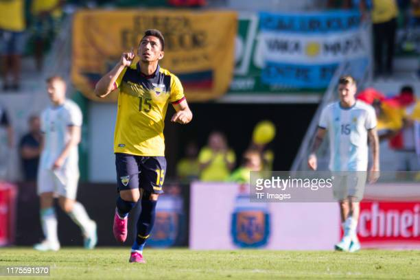 Angel Mena of Ecuador celebrates his team's first goal during the UEFA Euro 2020 qualifier between Ecuador and Argentina on October 13 2019 in Elche...