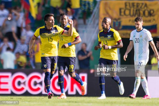 Angel Mena of Ecuador celebrates his team's first goal during the UEFA Euro 2020 qualifier between Ecuador and Argentina on October 13, 2019 in...
