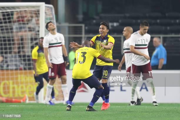 Angel Mena of Ecuador celebrates score during the match between Ecuador and Mexico at AT&T Stadium on June 9, 2019 in Arlington, Texas.