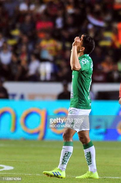 Angel Mena of Leon celebrates after scoring a penalty kick against Morelia during their Mexican Clausura 2019 tournament football match at the...