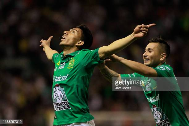 Angel Mena of Leon celebrates after scoring the first goal of his team during the 9th round match between Leon and Santos Laguna as part of the...