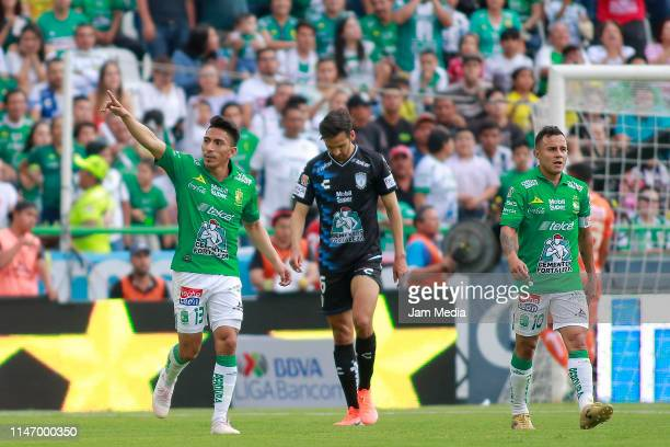 Angel Mena of Leon celebrates after scoring the first goal of his team during the 17th round match between Leon and Pachuca as part of the Torneo...