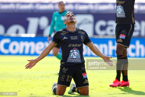 Angel Mena of Leon celebrates after scoring the first goal of his team during the 12th round match between Atletico San Luis and Leon as part of the...