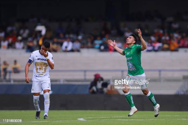 Angel Mena of Leon celebrates after scoring the second goal of his team during the 8th round match between Pumas UNAM and Leon as part of the Torneo...