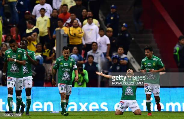 Angel Mena of Leon celebrates his goal against America during their Mexican Clausura 2019 tournament football match at the Azteca stadium in Mexico...
