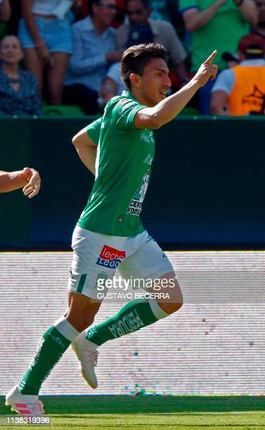 Angel Mena of Leon celebrates his goal against Atlas during a Mexican Clausura 2019 tournament football match at the Nou Camp stadium in Leon...