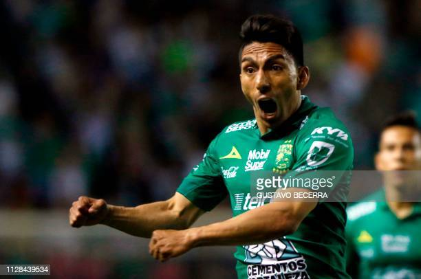 Angel Mena of Leon celebrates his goal against Santos during the Mexican Clausura 2019 tournament football match at the Nou Camp stadium in Leon...