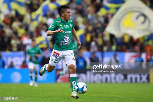 Angel Mena of Leon controls the ball during the 6th round match between America and Leon as part of the Torneo Clausura 2019 Liga MX at Azteca...