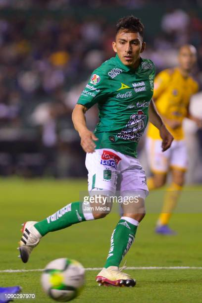 Angel Mena of Leon controls the ball during the first round match between Leon and Tigres as part of the Torneo Clausura 2019 Liga MX at Leon Stadium...