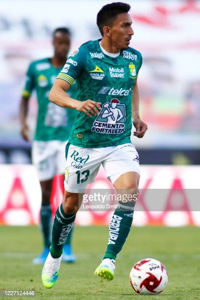 Angel Mena of Leon drives the ball during a match between Leon and FC Juarez as part of the friendly tournament Copa Telcel at Leon Stadium on July...