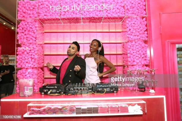 Angel Merino and Niks join beautyblender to celebrate the launch of beautyblender BOUNCE Liquid Whip Foundation in New York City on July 24 2018