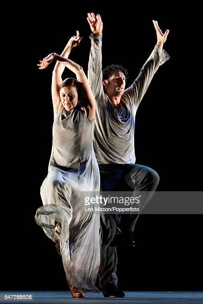 Angel Munoz and Mayte Bajo dance as Patrias is performed by the Paco Pena Dance Company at Sadlers Wells Theatre on July 12 2016 in London England