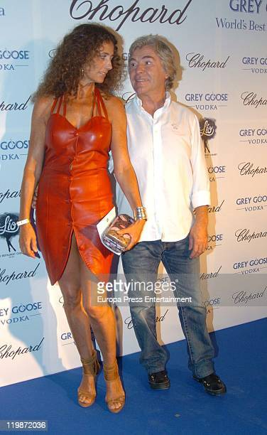 Angel Nieto and his wife Belinda Alonso attend Chopard's Party In Club Lio Restaurant on July 23 2011 in Ibiza Spain