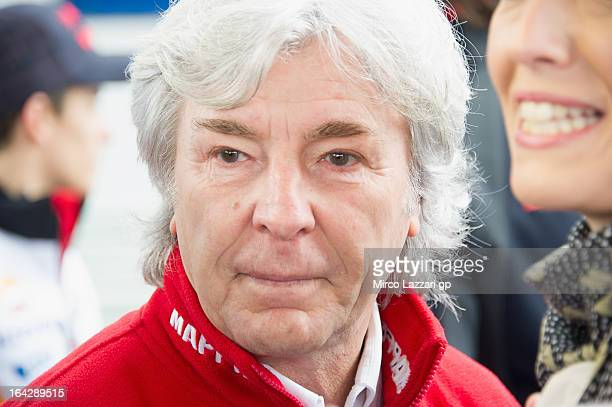 Angel Nieto of Spain looks on during the Mediaset Espana Presentation during the MotoGP Tests In Jerez Day 1 at Circuito de Jerez on March 22 2013 in...