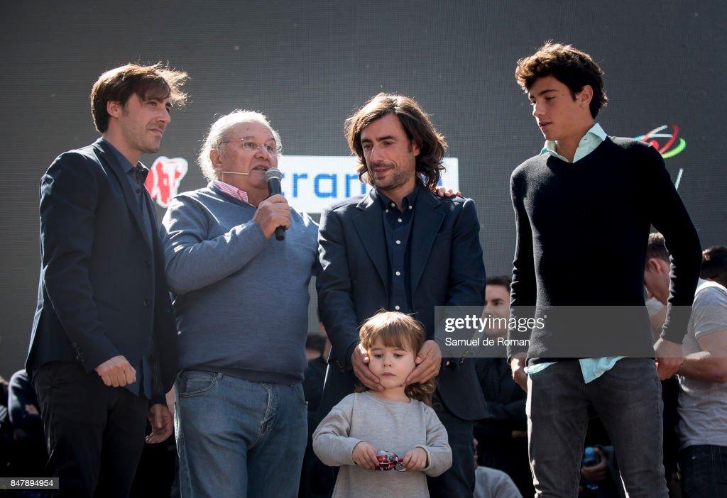 Angel Nietos sons Gelete Nieto, Pablo Nieto and Hugo Nieto during the Funeral Tribute For Angel Nieto in Madrid on September 16, 2017 in Madrid, Spain.