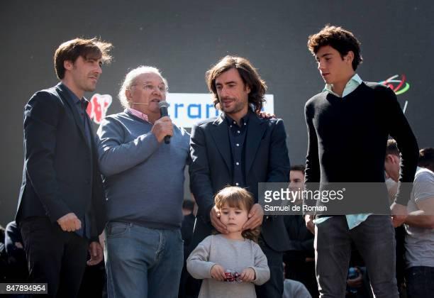 Angel Nietos sons Gelete Nieto Pablo Nieto and Hugo Nieto during the Funeral Tribute For Angel Nieto in Madrid on September 16 2017 in Madrid Spain