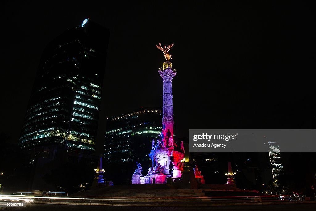Mexican monuments illuminated in support of France : News Photo