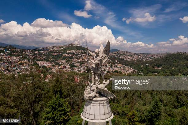 angel of los remedios in naucalpan, mexico - archangel michael stock photos and pictures