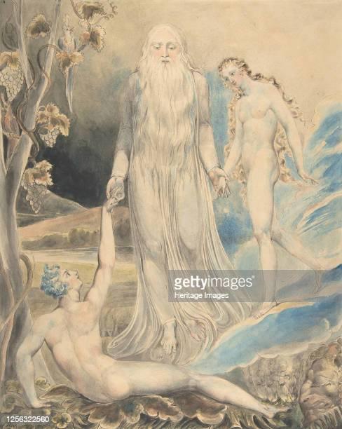 Angel of the Divine Presence Bringing Eve to Adam Sketch for the same circa 1803 Artist William Blake
