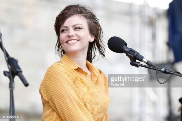 Angel Olsen performs during the 2017 Newport Folk Festival at Fort Adams State Park on July 29 2017 in Newport Rhode Island