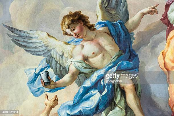 angel on a church fresco - angel stock pictures, royalty-free photos & images