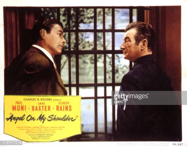 Angel On My Shoulder lobbycard Paul Muni Claude Rains 1946