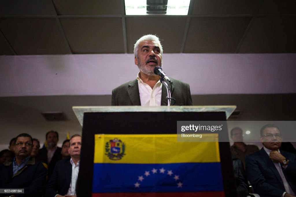 Angel Oropeza, political coordinator of the the Democratic Unity Roundtable (MUD), speaks during a press conference in Caracas, Venezuela, on Wednesday, Feb. 21, 2018. Venezuela's opposition coalition announced it will boycott this year's presidential ballot, saying that in its current form the vote will be neither free nor fair. Photographer: Wil Riera/Bloomberg via Getty Images