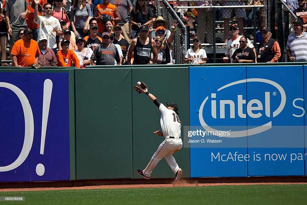 Angel Pagan #16 of the San Francisco Giants catches a fly ball hit off the bat of Cameron Rupp (not pictured) of the Philadelphia Phillies during the sixth inning at AT&T Park on July 12, 2015 in San Francisco, California. The San Francisco Giants defeated the Philadelphia Phillies 4-2.
