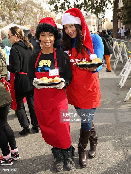 Angel Parker and Deana Molle are seen at the annual Los Angeles Mission Christmas Dinner on December 24 2015 in Los Angeles California