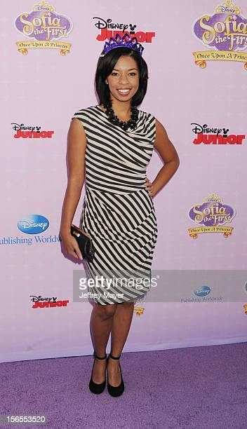 Angel Parker arrives at the Disney Channel's Premiere Party For 'Sofia The First Once Upon A Princess' at the Walt Disney Studios on November 10 2012...