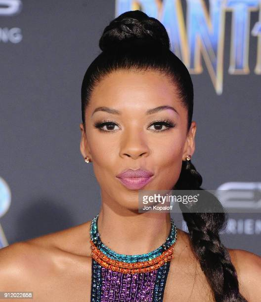 Angel Parker attends the Los Angeles Premiere 'Black Panther' at Dolby Theatre on January 29 2018 in Hollywood California