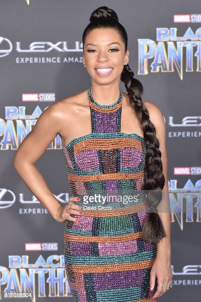 Angel Parker attends the Premiere Of Disney And Marvel's 'Black Panther' Arrivals on January 29 2018 in Hollywood California
