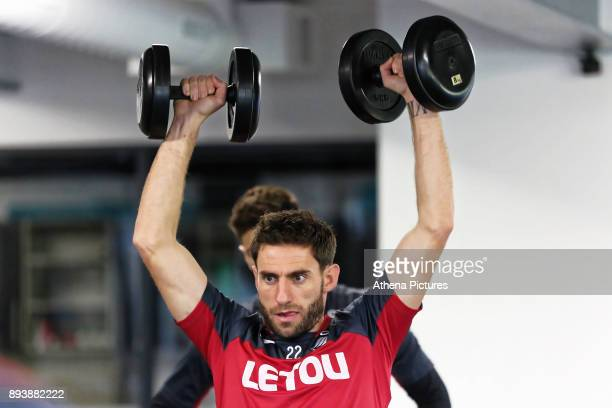 Angel Rangel exercises in the gym during the Swansea City Training at The Fairwood Training Ground on December 15 2017 in Swansea Wales
