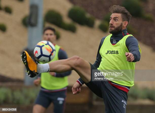 Angel Rangel in action during the Swansea City Training at The Fairwood Training Ground on October 11 2017 in Swansea Wales